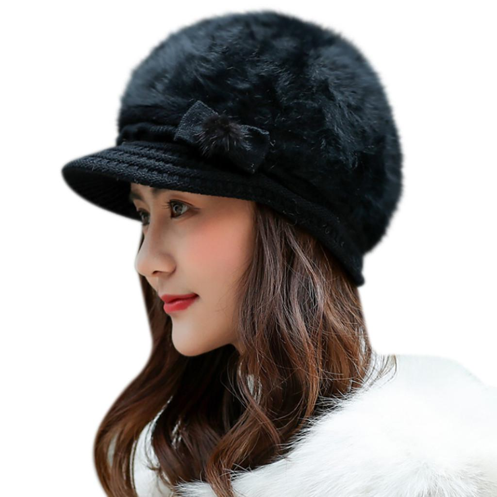 2019 Fashion Hat Women Bowknot Knitted Hat Winter Warm Beret Baggy Beanie  Slouch Ski Cap Hot Sale Funny Hats Baseball Hat From Vintage66 73a42281da9