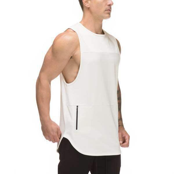 Mens Gym Tank Tops Casual Summer Sports Tees Sleeveless Zipper Designer Long Tops Clothes