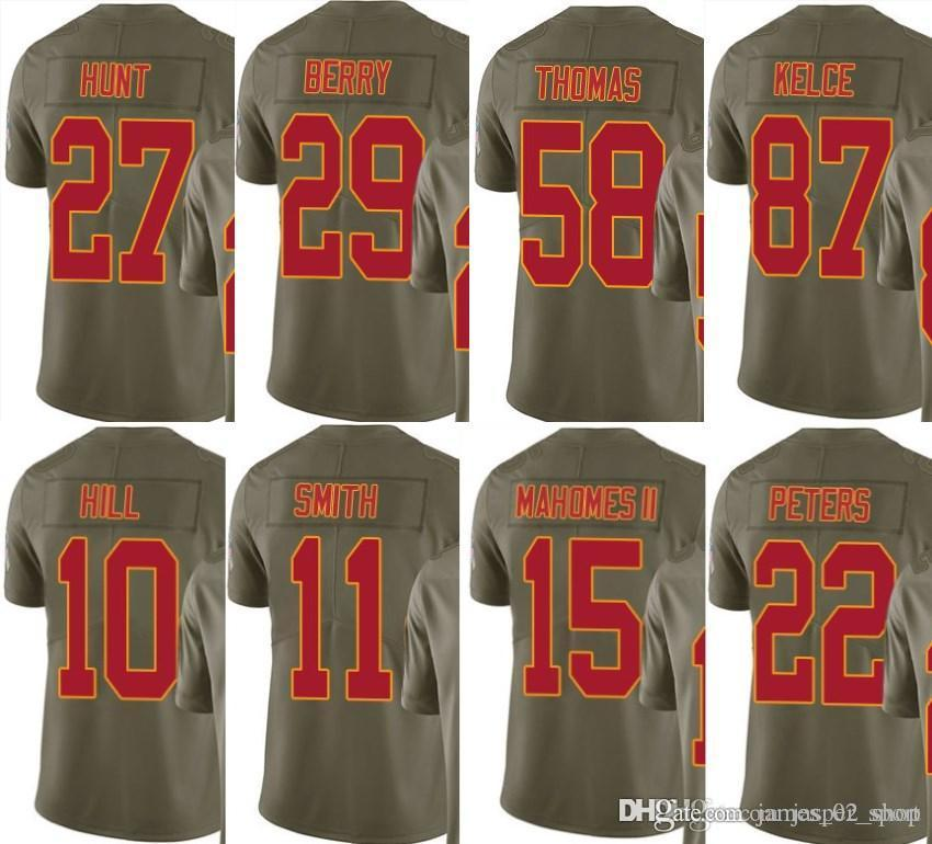 new concept 91f84 1eb58 2017 Olive Salute To Service limited Kareem Hunt Marcus Peters Patrick  Mahomes Travis Kelce Eric Berry Tyreek Hil Alex Smith Jerseys