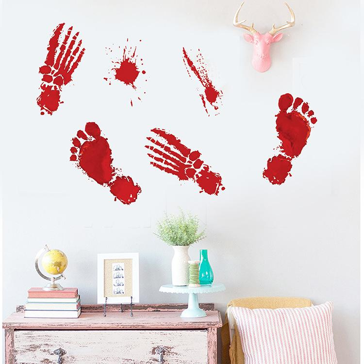 Bloody Handprint Sticker Halloween Horrible Wall Decals Door Window Decors Festival Decorations 30*45CM