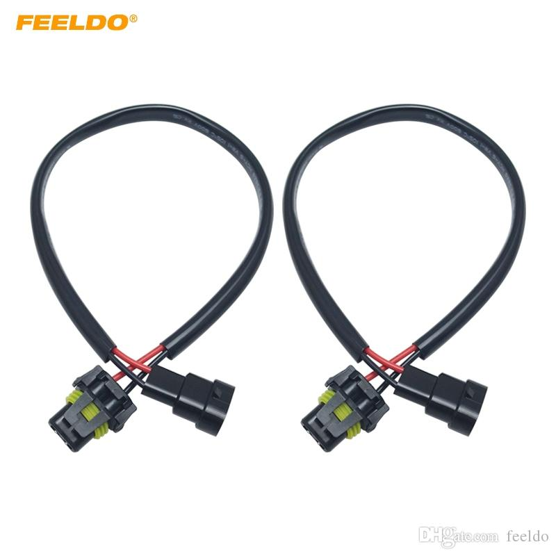 FEELDO 2PCS Car 12V Auto H11 To 9005/9006 Plug Power Cable HID Conversion Kit Xenon Lamp Bulb Power Wire Harness #5978