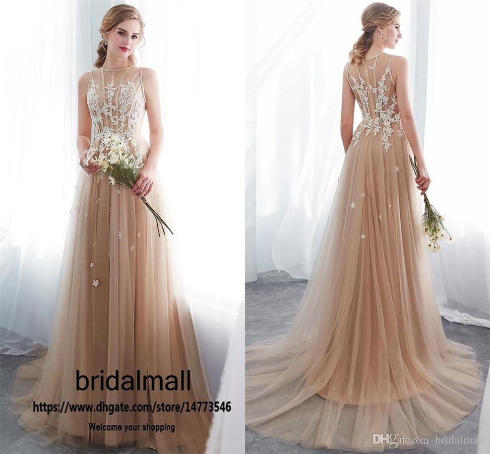 See through Champagne Tulle Prom Dresses 2020 Illusion Appliques Long Formal Evening Gowns Cheap Reception Party Dress vestido de fiesta