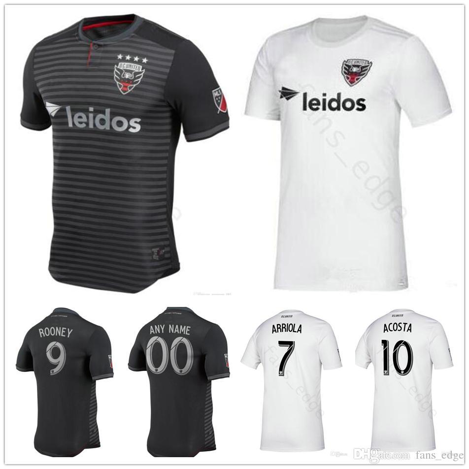 06ab88cfa 2019 2019 MLS D.C. United Football Jersey ROONEY ARRIOLA ACOSTA HARKES  STIEBER BIRNBAUM Custom DC United Home White Away Washington Soccer Shirt  From ...