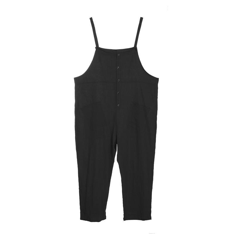 S ~ 5XL 2018 Casual düz Womens jumpsuits düz renk yaz sonbahar bantlı gevşek düğmeleri tulum pantolon Pantolon Artı boyutu harem