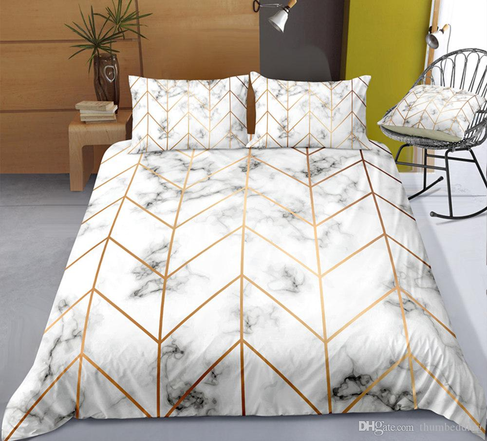 Thumbedding Dropship Quality Bedding Sets Marble Pattern Fashionable Design Twin Full Queen King 3D Duvet Cover Set Colorful Bed Set