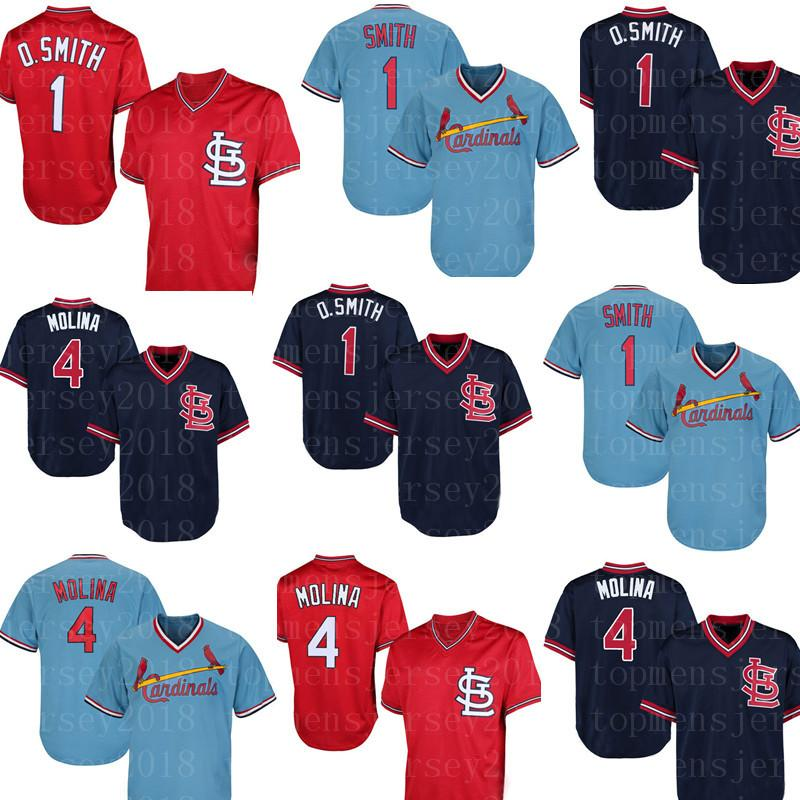 los angeles 75847 62a40 St. Louis 4 Yadier Molina Cardinals Jersey 1 Ozzie Smith Jersey Retro Mesh  Blue Black Baseball Jersey Embroidery Logos
