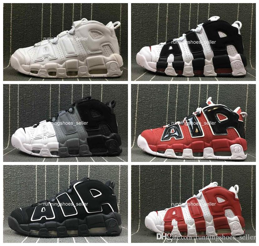 2019 chaussures nike air more uptempo Air Plus Uptempo Femmes Chaussures De Basket ball Hommes, Haute Qualité Tri Couleur Scottie Pippen PE Triple