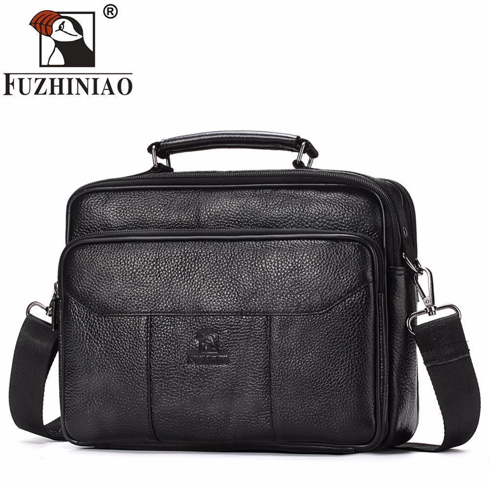 Fuzhiniao Genuine Leather Men Bag Vintage Totes Handbags Brand Fashion Male Messenger  Bags Briefcase Men s Travel Shoulder Bags Womens Handbags Body Bags ... c720b7a96b