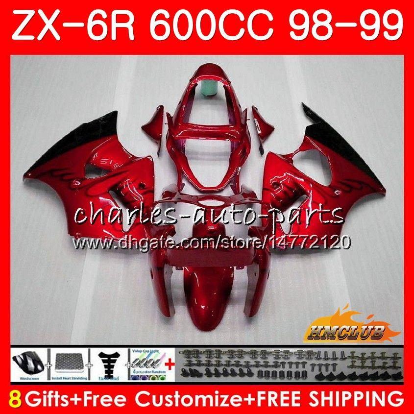 Body For KAWASAKI NINJA ZX-6R ZX 6R 6 R ZX-636 ZX600 CC 98 39NO.118 600CC ZX636 ZX 636 ZX6R 98 99 98-99 1998 1999 Fairing kit glossy red hot