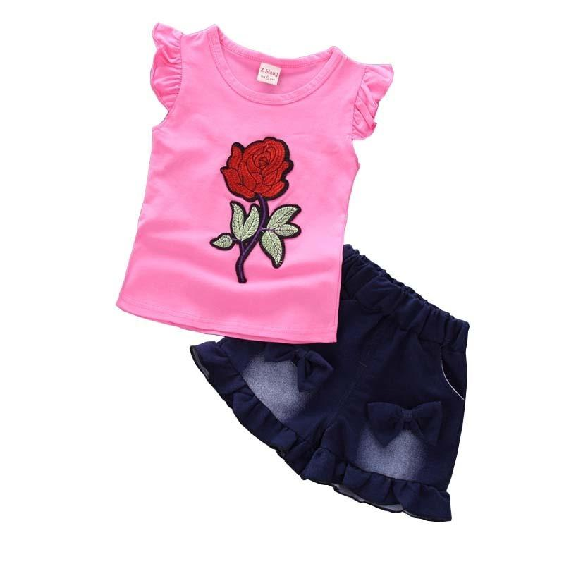 good quality Summer Baby Girl Clothes Children Clothing Baby Girls clothing set Kids Clothes Set Flower Tops+Shorts Pants 2Pcs Suit