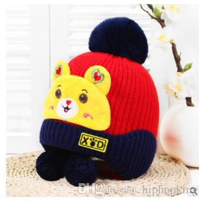 8a1b5fcab93 Cute Bear Decoration Winter Hat For Kids Ages 0 3 Knit Beanie Winter Baby  Hat For Children Fur Pom Pom Hats For Girls And Boys Beanie Hat Sun Hats  From ...