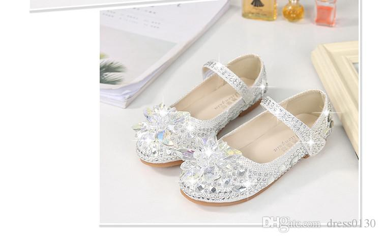 a80ea0c32b White Shiny Cinderella Crystal Shoes Designer Fashion Luxury Brand Girl  Shoes Designer Shoes Full Diamond Kids Formal Wear Free Shipping