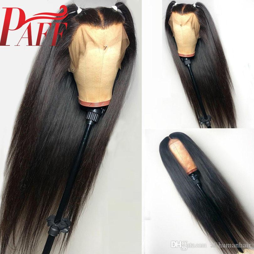 PAFF 13*4 Lace Front Human Hair Wigs Silky Straight Peruvian Glueless Remy Hair Wig With Middle Part Baby Hair For Black Women