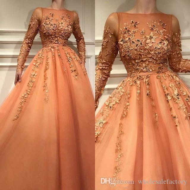 38194ead298 Coral Elegant Long Sleeves Lace A Line Evening Dresses 2019 Sheer Applique  Beaded Floor Length Formal Party Prom Dresses Plus Size White Evening  Dresses ...