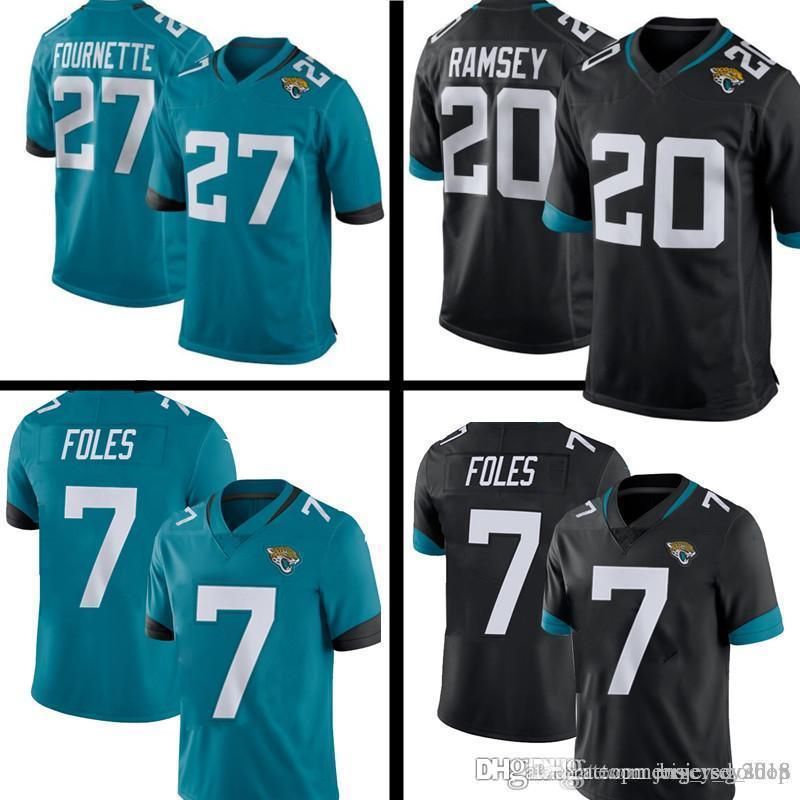 official photos bd501 01131 Jaguars 7 Nick Foles jersey Jacksonville 20 Jalen Ramsey Jaguars 27 Leonard  Fournette New Football Jerseys S-XXXL Embroidery Logos