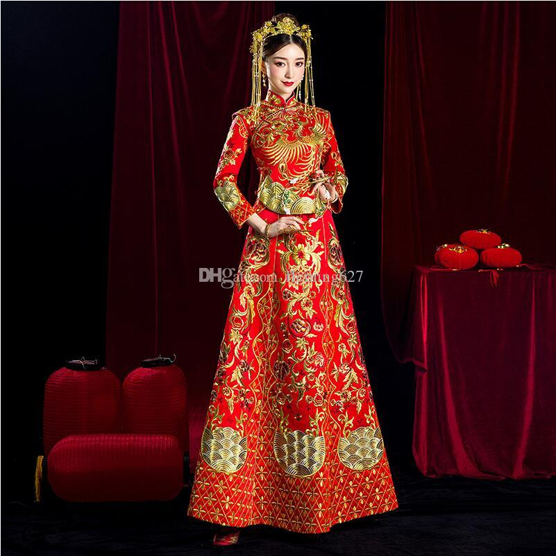 2f1e997bc 2019 Traditional Ethnic Clothing Chinese Style Vestido Women Royal  Embroidery Phoenix Wedding Cheongsam Ancient Marriage Costume The Bride Gown  From ...