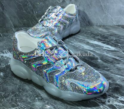 women Bear Trend Reflective Material,Diamond Fabric,Bear Transparent Bottom,Personality Colorful Laser Crystal Shoes,ladies running shoes
