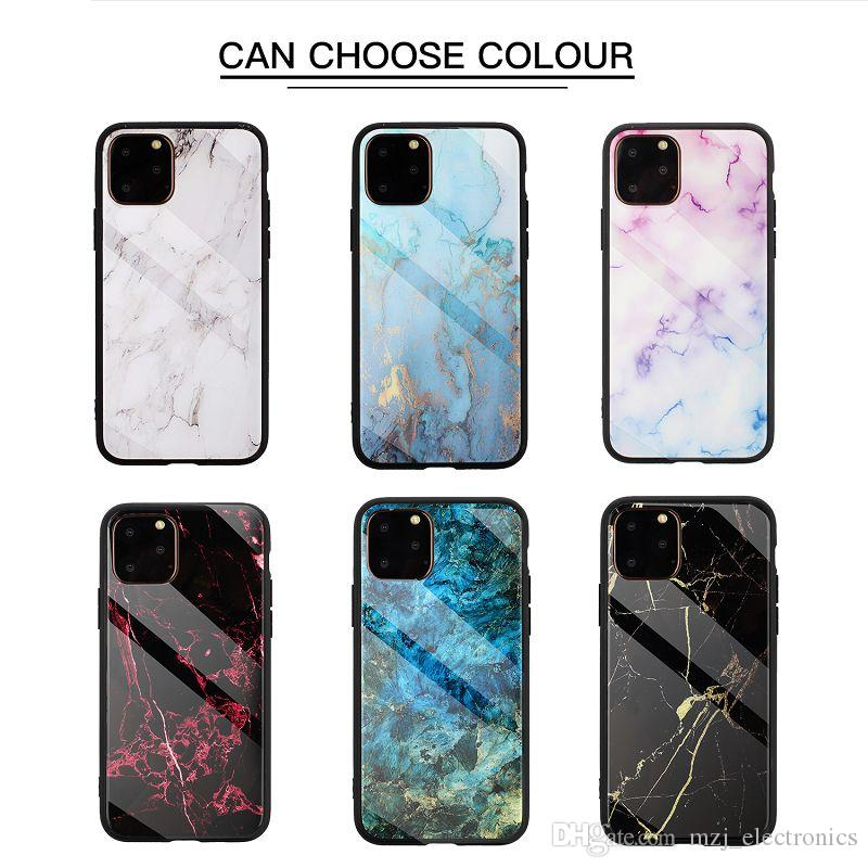 designer phone case for Iphone 11 11Pro 11Pro MAX marble pattern case Samsung Note 10 10Pro tempered glass+TPU phone cover for XS MAX XR