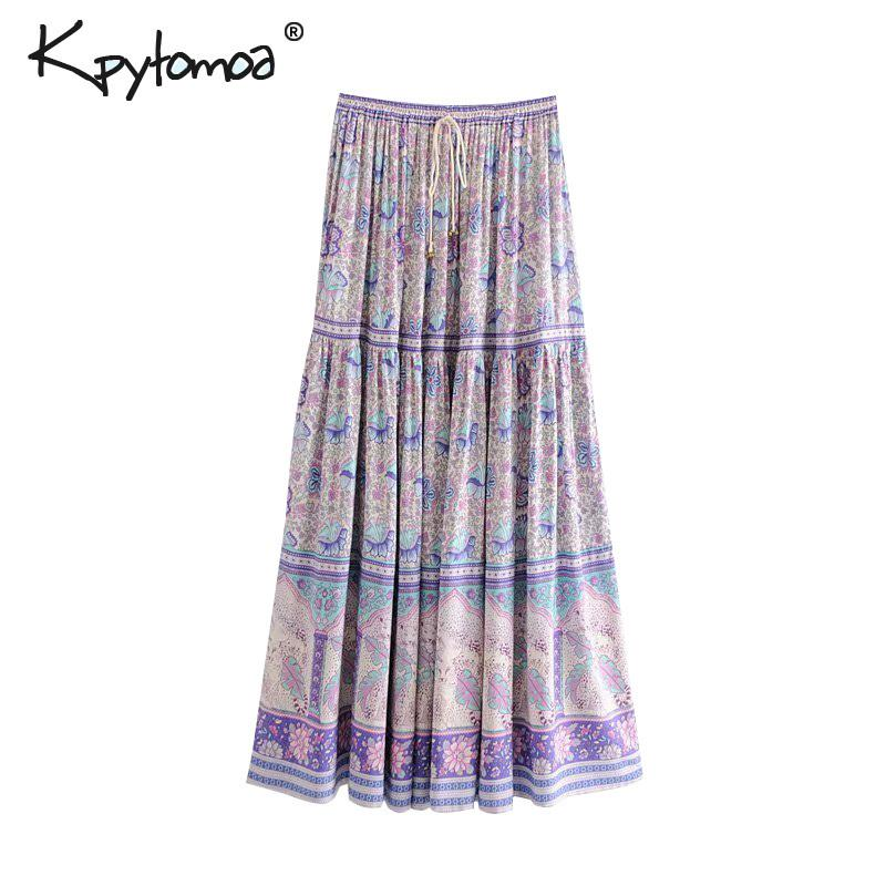 c95aeeb9c 2019 Vintage Chic Floral Print Long Skirt Women 2019 Fashion Elastic Waist Lace  Up Pleated Summer Beach Skirts Casual Saia Mujer C190416 From Shen07, ...