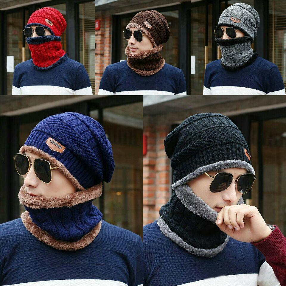 Adult Kids Winter Warm Fleece Knitted Crochet Beanie Hat Thick Cap Scarf Sets UK