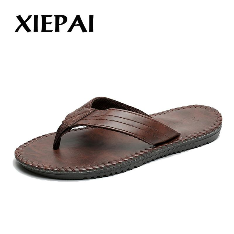602a776207c XIEPAI Good Quality Men Fashion Leather Slippers Flip Flops Size 40 44 Hot  Sale Man Summer Sandals Indoor Outdoor Shoes Ladies Shoes Red Shoes From ...