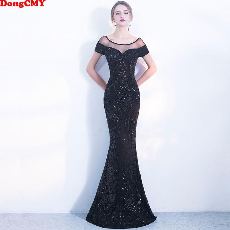 f06c15cbfc33 Dongcmy nuevo 2019 sexy lentejuelas negro vestido de noche largo formal  Robe De Soiree vestidos de fiesta de las mujeres Y19042701