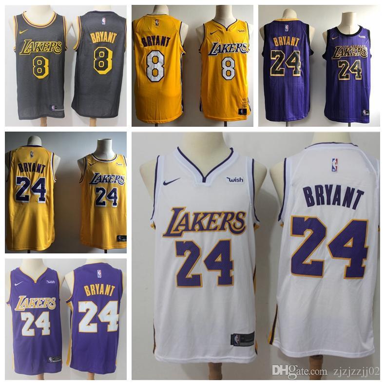 sports shoes b9488 9b75c 2019 23 LeBron James Laker Jersey The City Los Angeles Kobe 24 Bryant 8  Lonzo 2 Ball Kyle 0 Kuzma Brandon 14 Ingram Basketball Jersey NEW