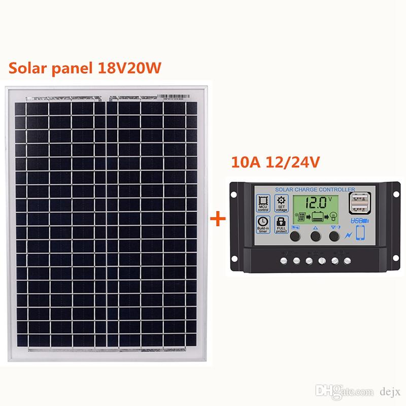 Freeshipping 18V20W Solar Panels + 12V/24V Solar Controller With USB Interface