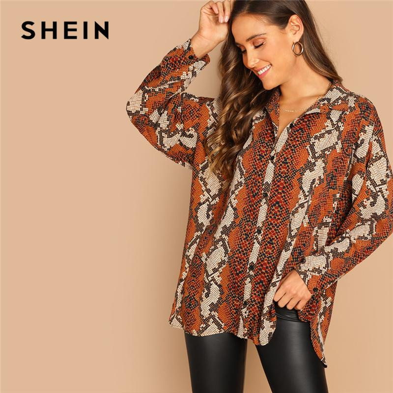 04c53f4c5bb4 2019 SHEIN Rust Oversized Snake Animal Print Button Shirt Blouse Women  Regular Fit 2019 Spring Long Sleeve Tops And From Queen_shop1, $26.06 |  DHgate.Com