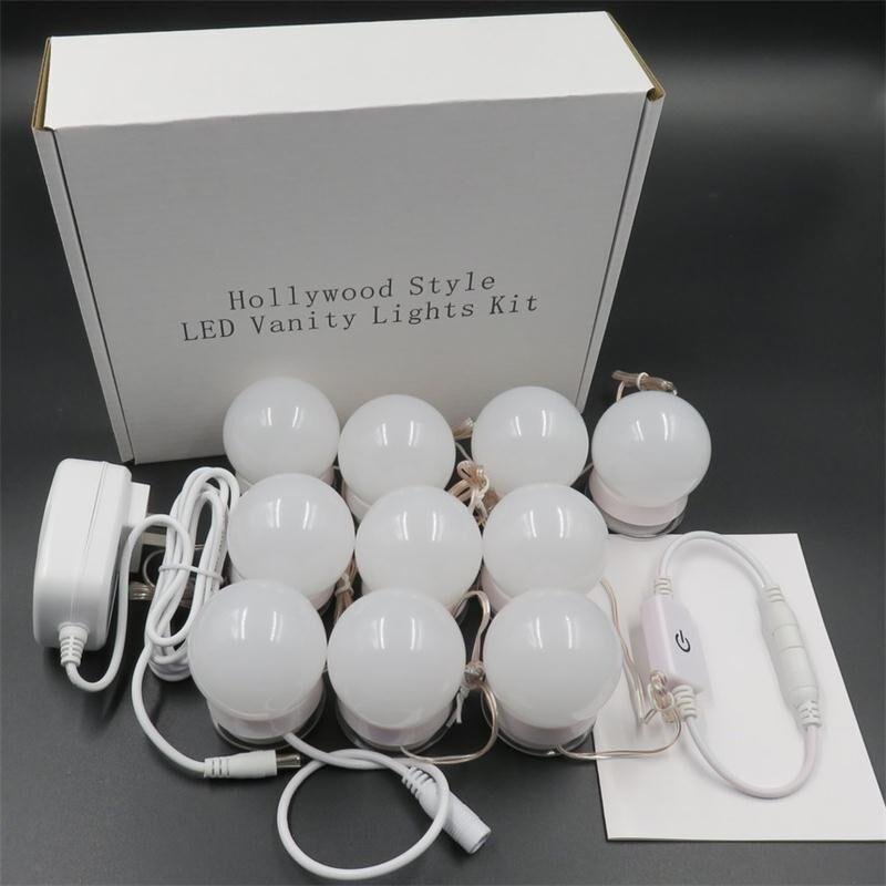 220w Hollywood Style LED Vanity Mirror Lights Kit with Dimmable Light Bulbs Lighting Fixture Strip for  Vanity Set US FR