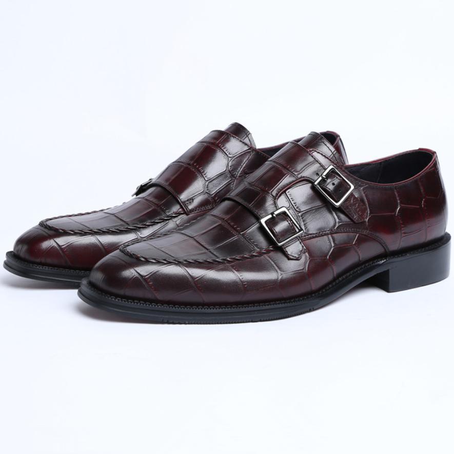 e7e3e8dd35 Crocodile Grain Double Monk Strap Social Shoes Men Business Dress Shoes  Genuine Leather Prom Man Wedding Mens Leather Boots Mens Shoes Online From  Serady, ...