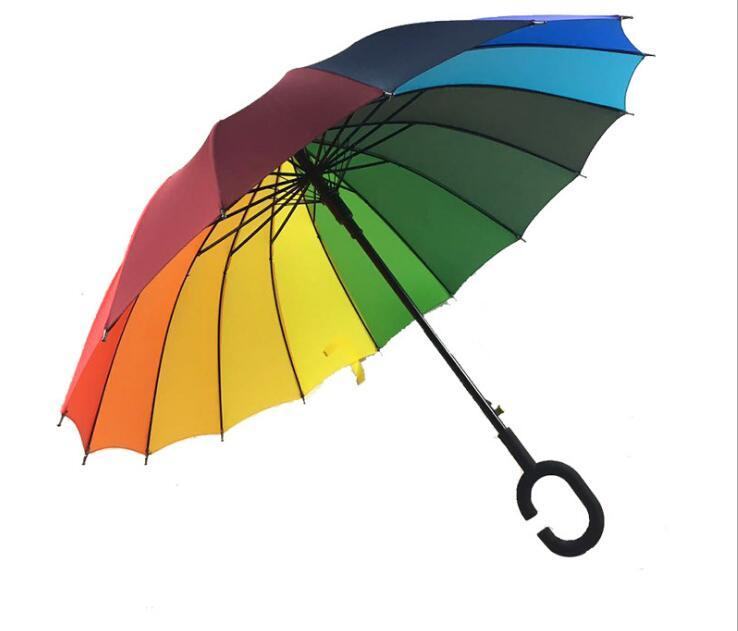 8f6fffb80 C Hook Rainbow Umbrella Long Handle 16K Straight Windproof Colorful ...