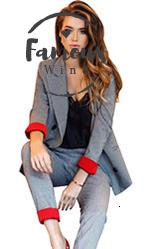 Pant Suits Womens Suits Stand Collar Set Double Breasted Blazer Cuff Red Jacket Straight Pant Two Pieces Set Office Lady