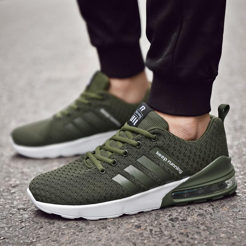 697fd9b1a7 Running Shoes For Men Air Sole Jogging Sneakers Comfortable Wear-resistant  Lace-up Soft Sole Fire Print Trainers Sport Shoes Men