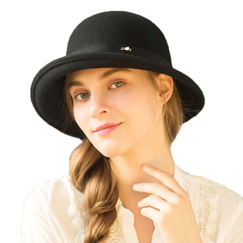 9cb5789ec Women Wool bucket hat party formal headwear lady winter fashion fedora  asymmetric bowknot 100% wool felt hats M78