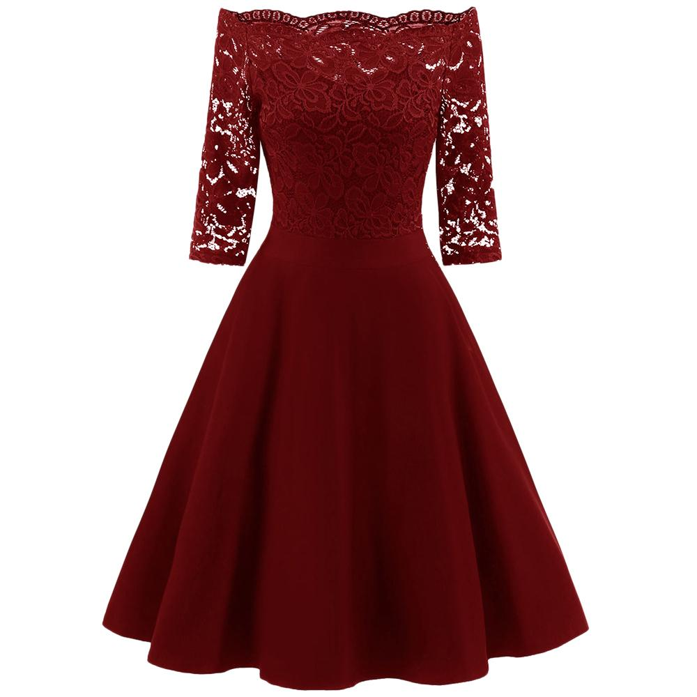 Wipalo Lace Panel Women Dress Spring Off The Shoulder Vintage Swing Dresses Elegant Solid Red Midi Party Dress Vestidos Mujer Y19050905