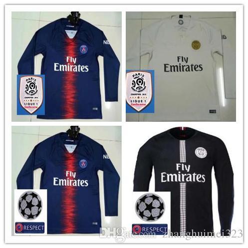 new style aa8aa 968b6 Thai Qualität 2018 19 PSG Langarm-Trikots CAVANI dritten Maulot MBAPPE  Fußball Trikot 18 19 Jersey Paris Maillot de Foot
