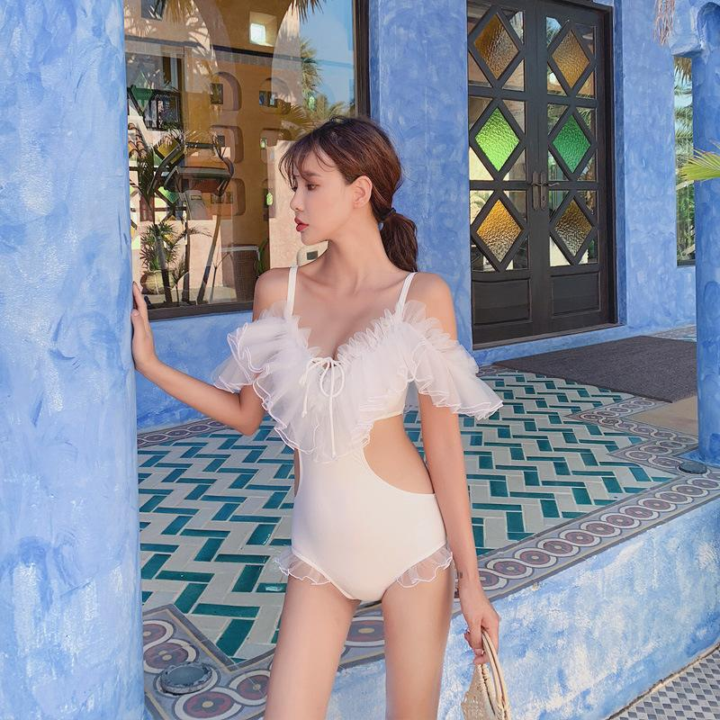 Korean hot spring sexy bikini lace openwork gathered chest conservative cover belly slimming one-piece swimsuit