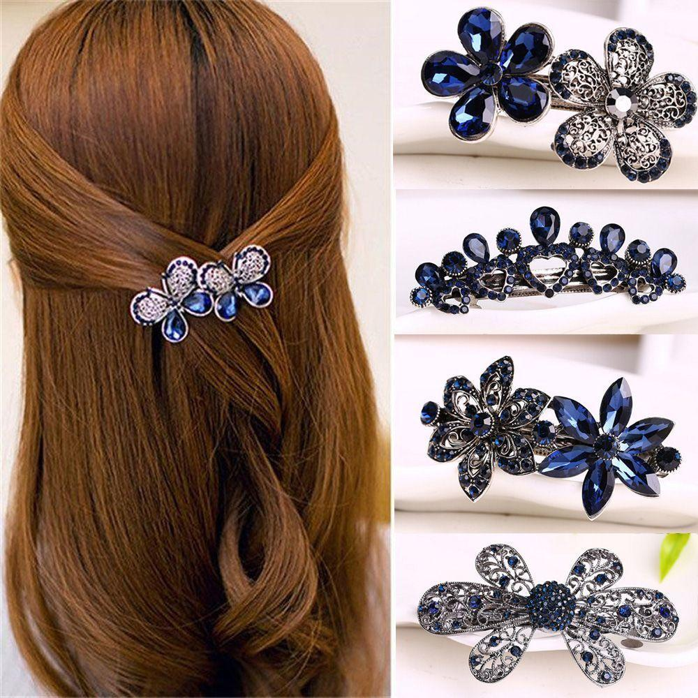 Fashion Women's Crystal Butterfly Hairpin Vintage Rhinestone Flower Hair Pin Barrette Hair Clip Hair Styling Accessories C19010901