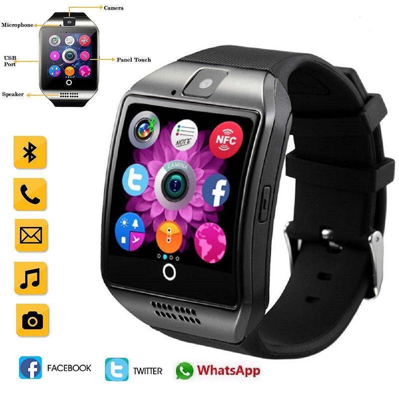 Умные Часы Ios Новый Bluetooth Сенсорный Экран Смарт Часы Q18 Камеры Для  IPhone Samsung Смарт Телефонов Поддержка GSM SIM Карты Фитнес Трекер Умные  Часы ... adc35209c99ba