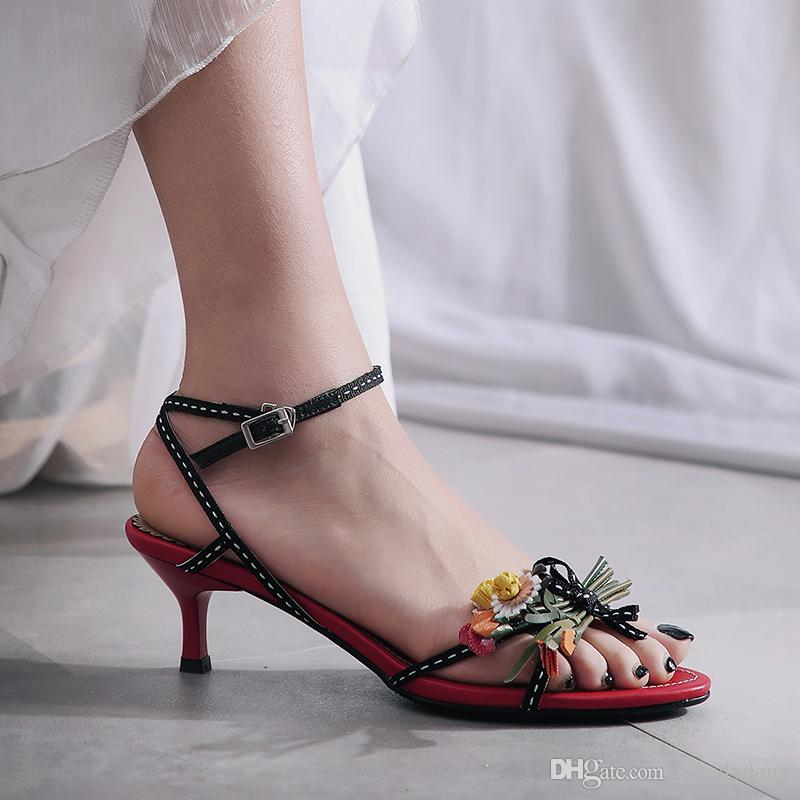 0ca4368b2a Women Sandals Genuine Leather Summer Pumps 5.5 CM Sexy High Heels For Woman  Open Toe Buckle Slingbacks Box Packing LBY Y 38 Shoe Shop Cute Shoes From  ...
