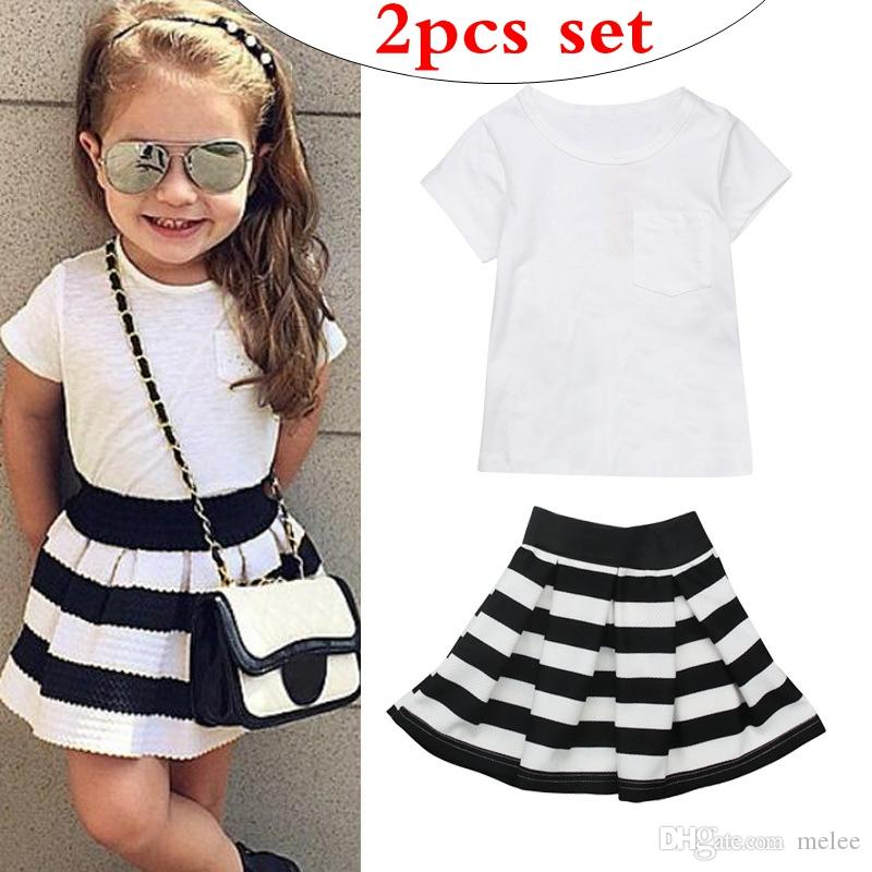 Baby Designer Girls Boutique Outfits Summer Baby Girl Clothes Kids Short  Sleeve T Shirts   Black And White Striped Skirts Set UK 2019 From Melee 00825f6f8311