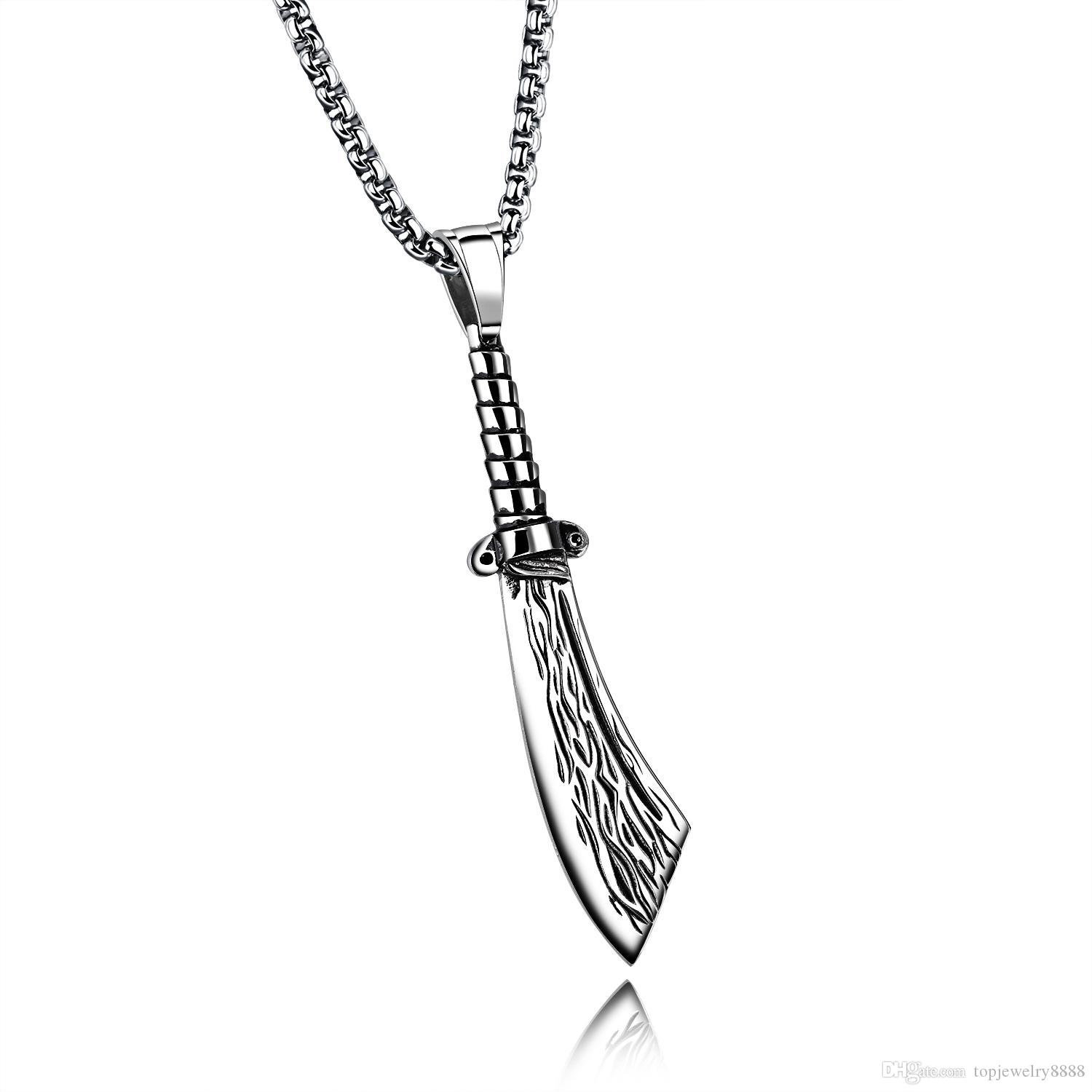 Shave Knife Pendant Necklace Men Stainless Steel Link Chain Silver Punk Man Necklace Hip Hop Jewelry Gift GX1344
