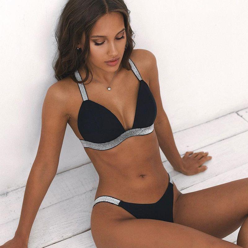 f10309066645 Sexy Push up Bikinis Acolchado Traje de baño 2019 Mujeres Cruz atrás  Conjunto brasileño de Bikini Traje de baño de triángulo vintage Push-up  Trajes de ...