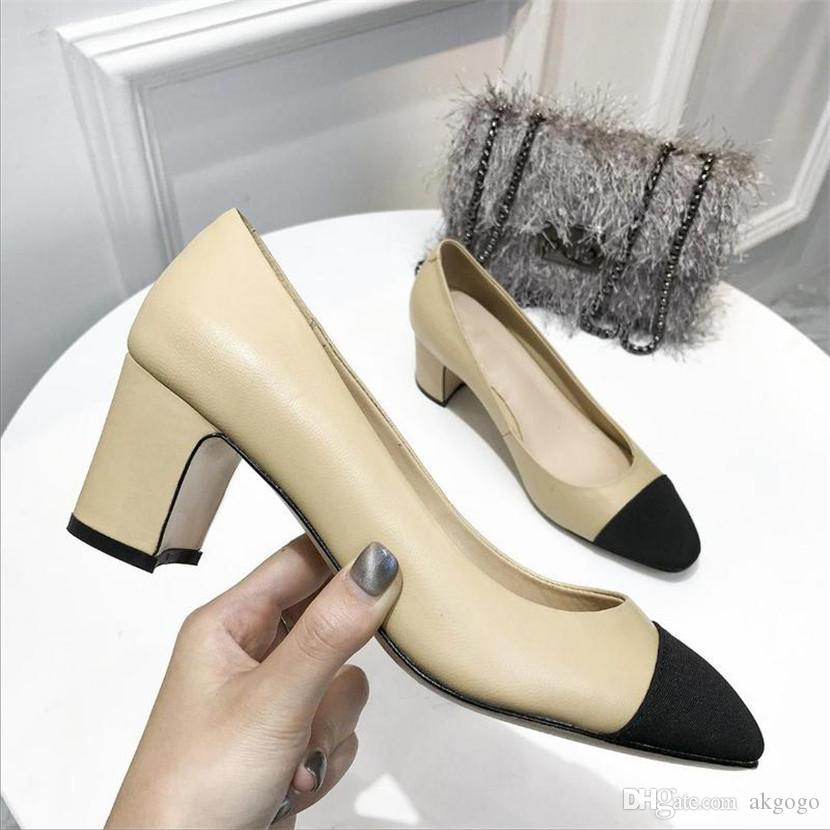 da8c497eed5965 Großhandel Laminierte Ziegenleder Grosgrain Basic Pump Cap Toe Flats Leder  Stoff Heels Schuhe Pumps Kalbsleder Slip On Stöckelschuhe Luxusmarke CC13  Von ...