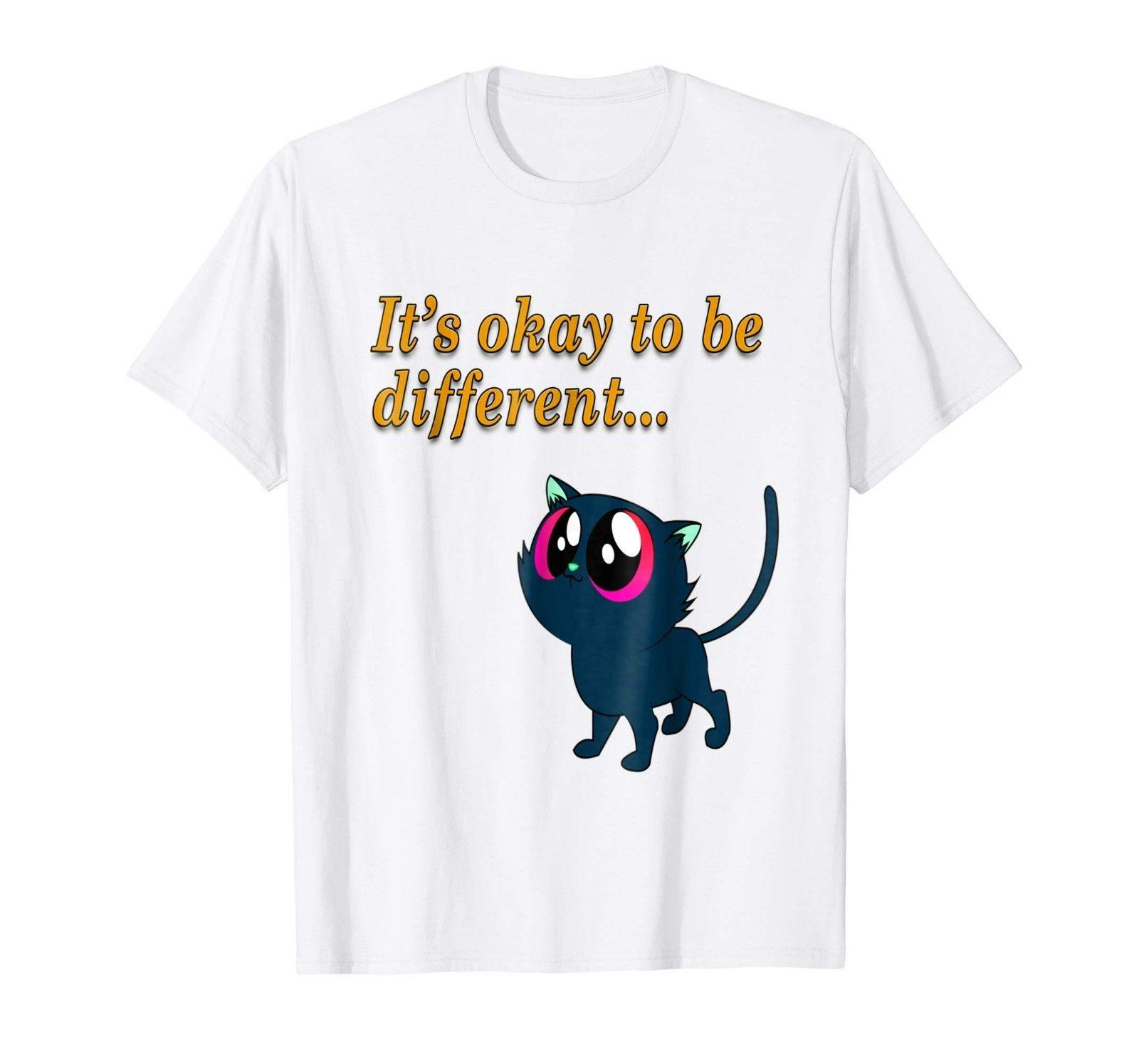 8f833f694 Cat T-shirt Blue Kitty Design Art It's Okay To Be Different Graphic White  Men T Shirts Classical Top Tee Basic Models