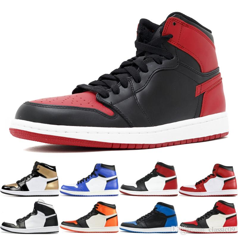 aac31308966d 2019 2019 Banned 1 OG Mens Basketball Shoes Royal Blue Chicago Bred Toe Game  Royal Homage To Home TOP 1s Designer Men Women Sneakers From Classic09