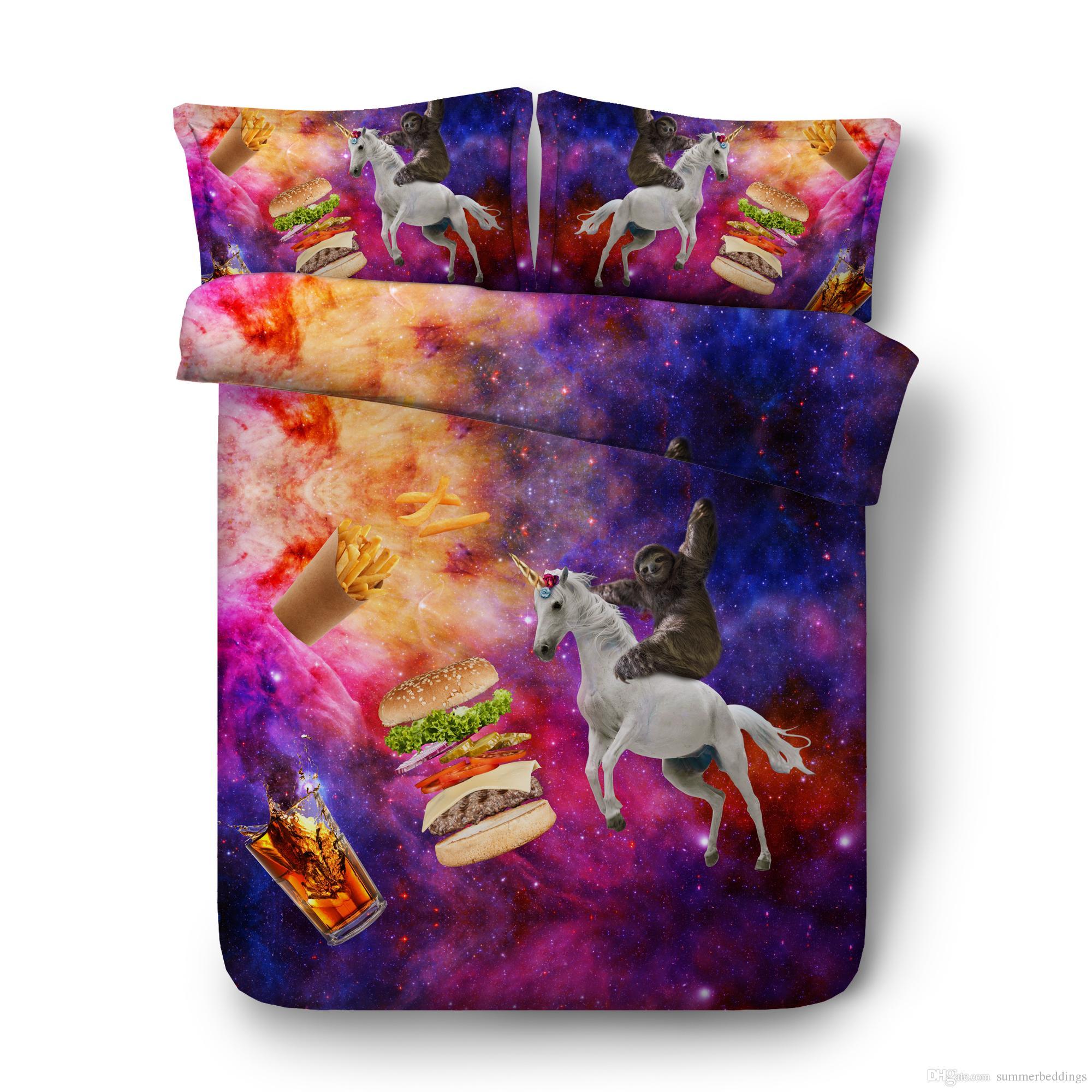 Bedding Sets Home Textile New Fashion Unicorn Bedding Set With Pillowcase Unicorn Print Duvet Cover For Kids 50% OFF