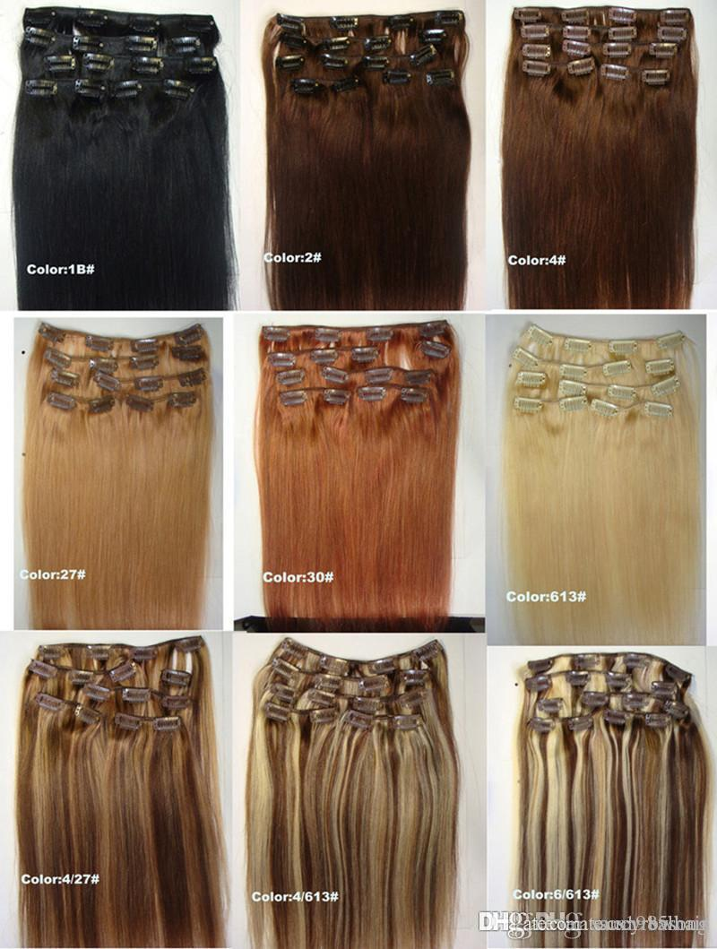 Brazilian Remy Human Hair Clip in Extensions Straight Clip on Human Hair Pieces #1B #2 #8 Brown #613 Blonde Hair
