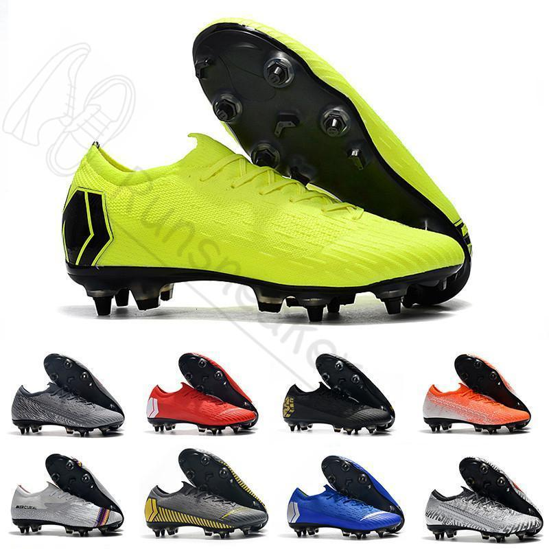 Top qualité 2019 chaussures de football New Mercurial Superfly VI 360 XII Elite FG Neymar Cool Grey or vif faible chaussures de football en plein air Taille 39-45